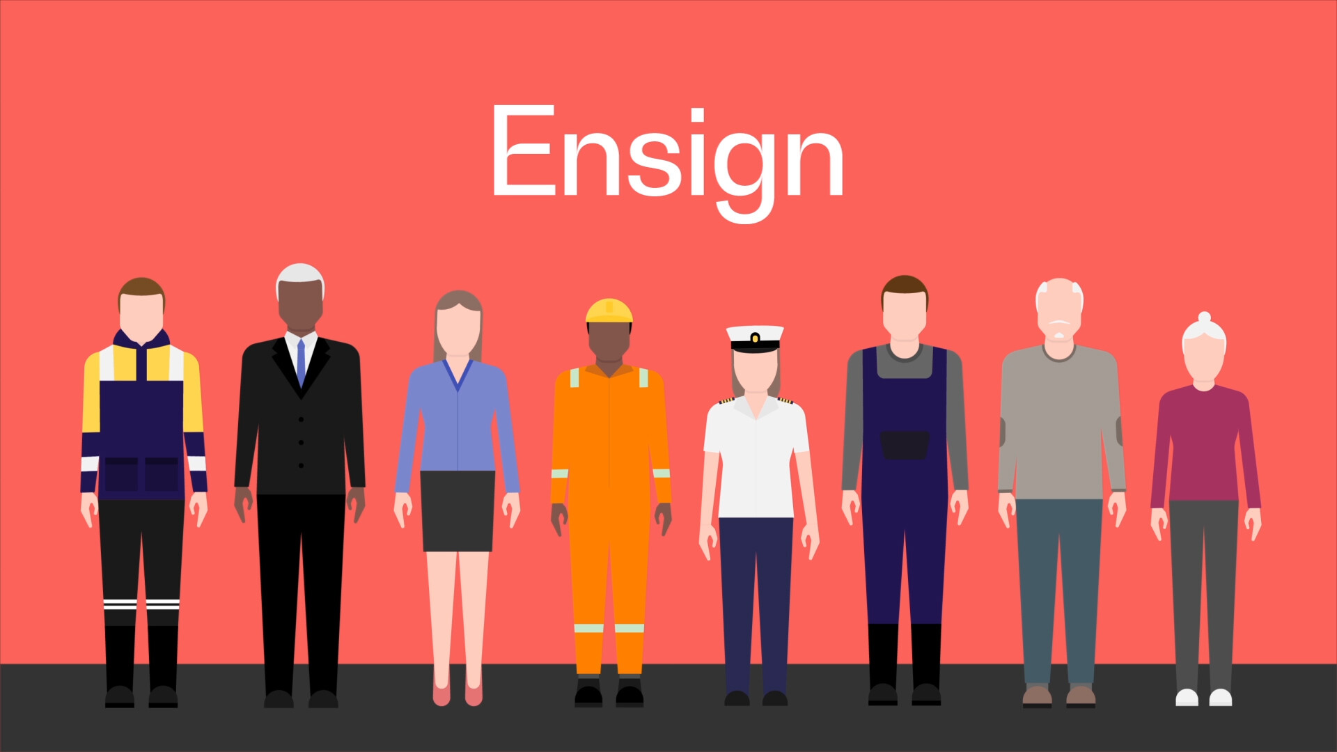 Ensign - Illustration of multiple people in various job roles on a red background